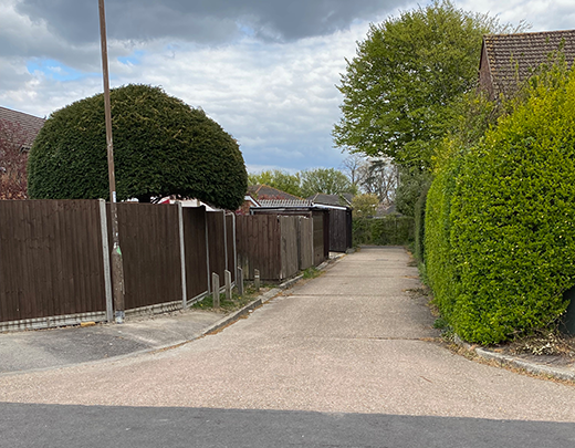 Entrance to Sqn via side road from Timsbury Crescent